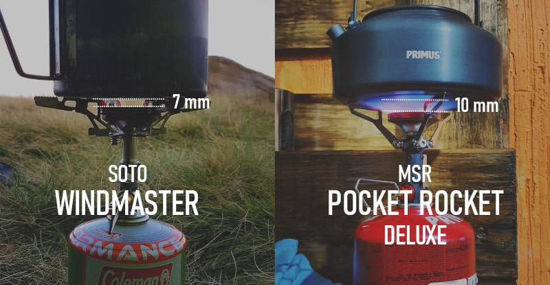Soto Windmaster vs Pocket Rocket Deluxe pot support and flame distance