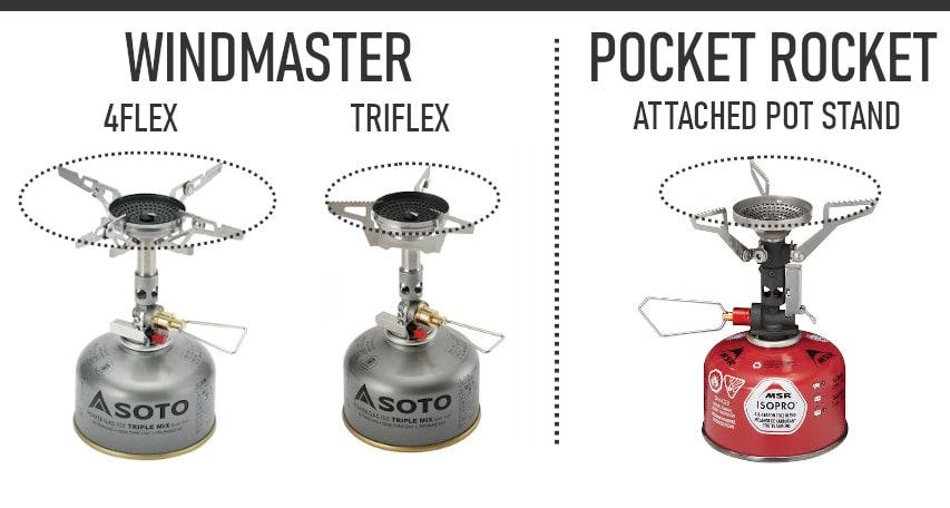 Soto Windmaster vs Pocket Rocket Deluxe pot support comparison