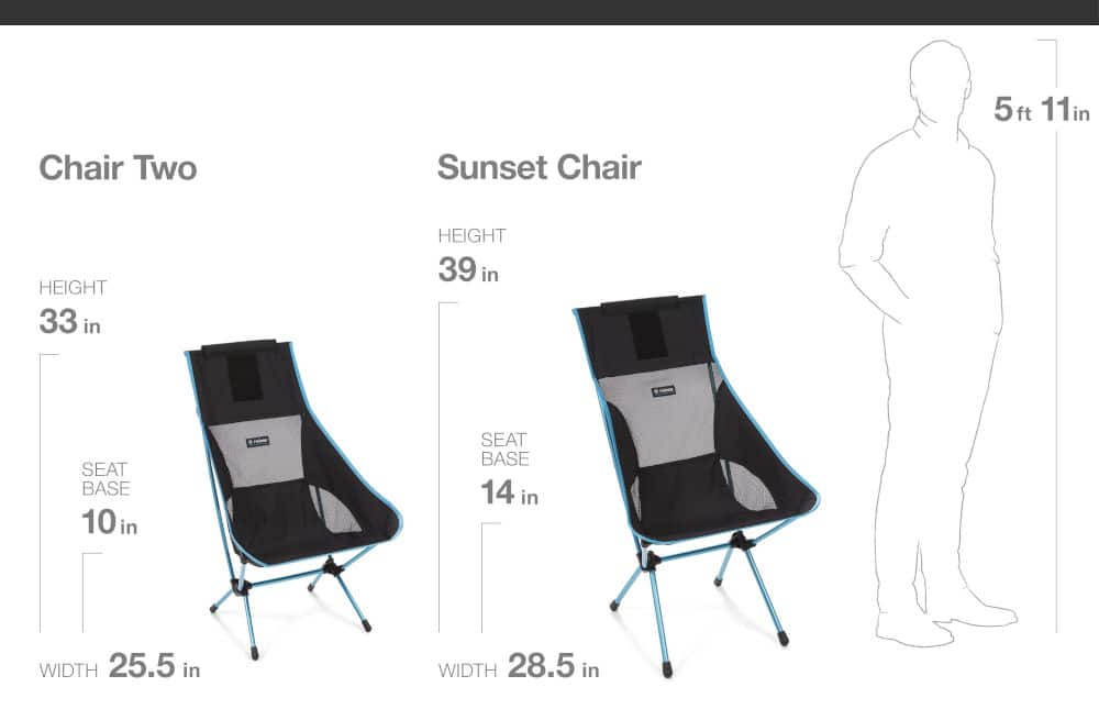 Helinox Chair Two vs Sunset Chair Dimensions