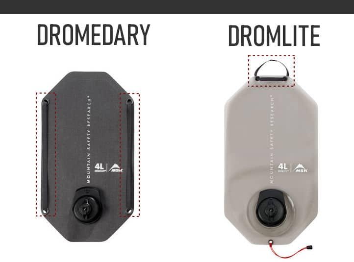 MSR Dromedary vs Dromlite Strap Comparison