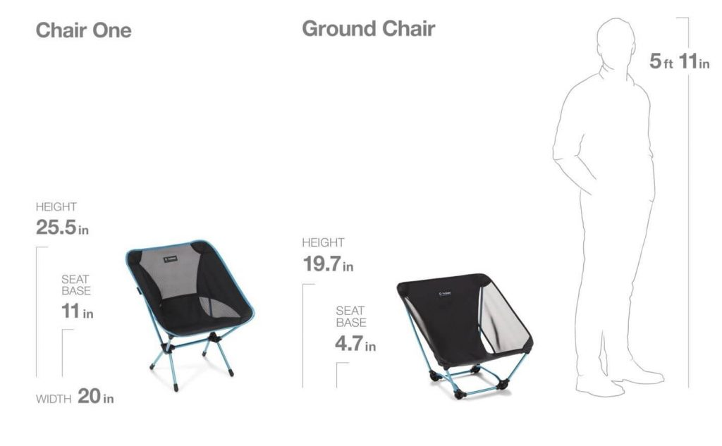 Helinox Chair One vs Ground Chair Dimensions