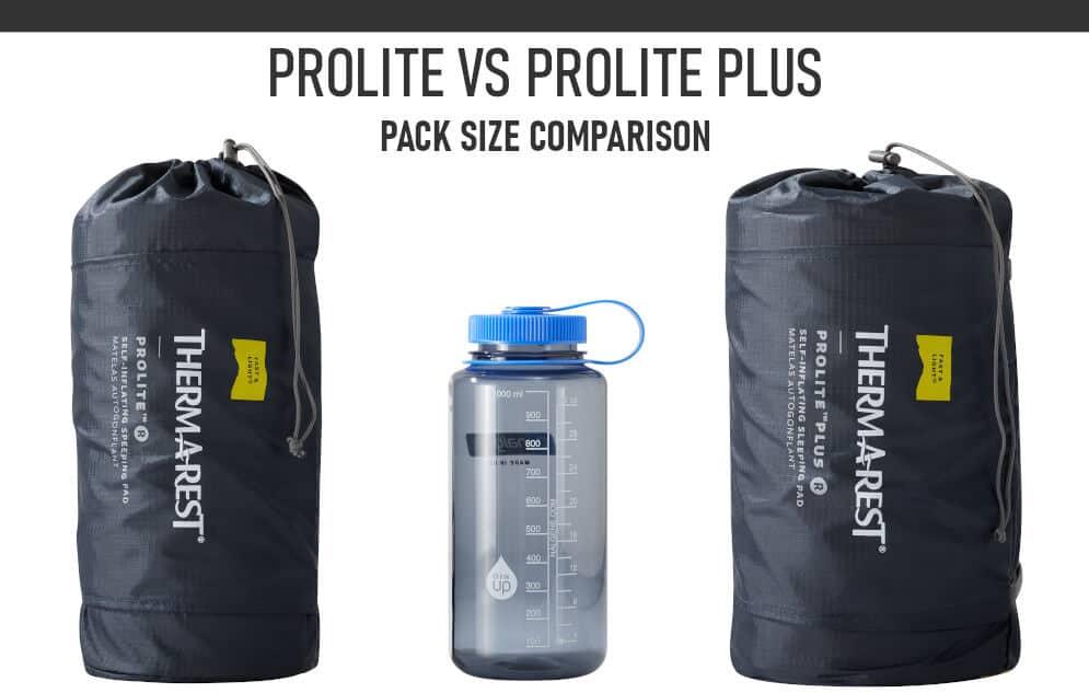 Thermarest Prolite vs Prolite Plus Packed Size Comparison
